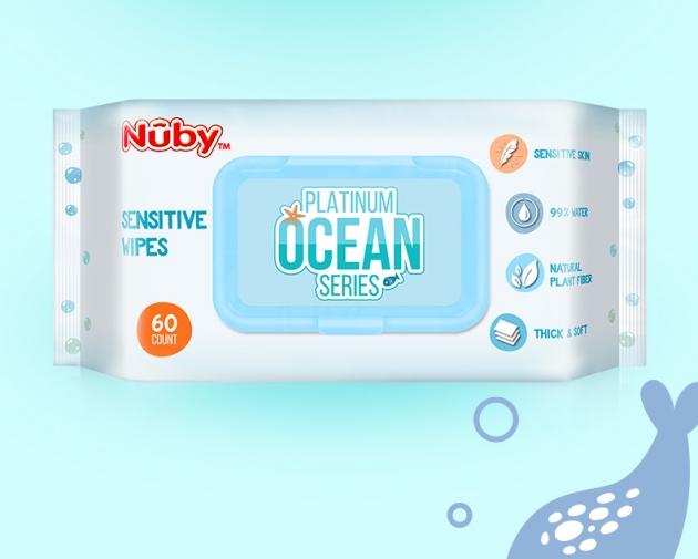 Nuby 海洋系列極厚柔濕巾(60抽/4包) 2