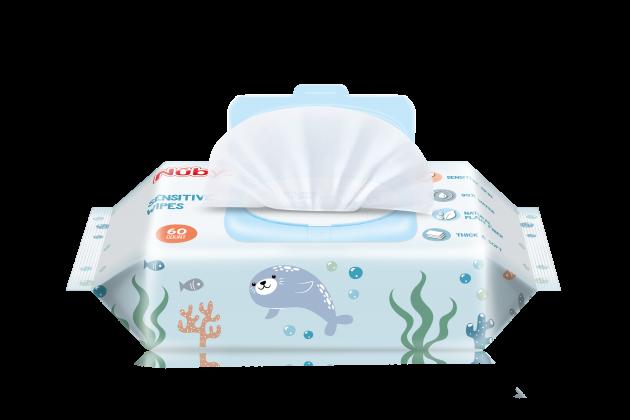 Nuby 海洋系列極厚柔濕巾(60抽/4包) 1