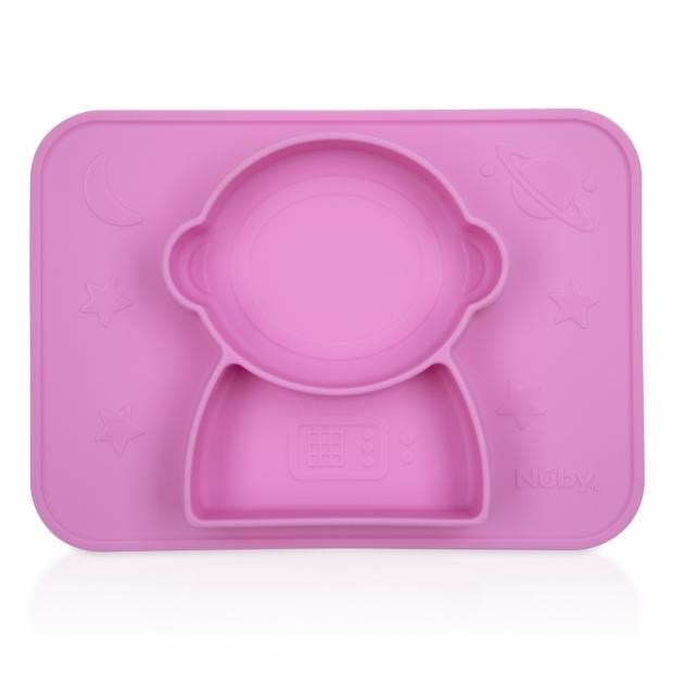 矽膠分隔餐盤/太空人(粉/藍) 4